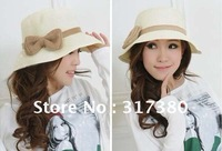Pretty Women Large Bowknot Flower Straw Wide Brim Sun Hats Cloche Designer Bucket Hats Spring Summer Floppy Beach Cap 2013