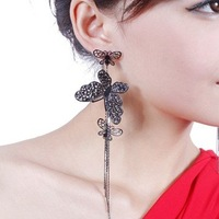Min Order $10(Mix Order) Free Shipping,E011 Wholesale,New Arrive Vintage Metal Black Butterfly Tassels Alloy Drop Earring,