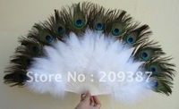 Double sided Peacock feather Bellydance Peacock Fans/Peacock Feather Fan for Belly Dance/Feather Fan Costume X'mas Wedding party