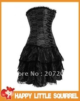 Wholesale Sexy Gothic Lace up Boned Corsets Dress Sexy Lingerie Party Dress + Cheaper price + HOT + Fast Delivery