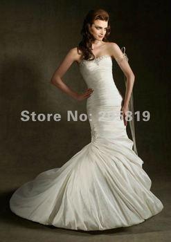 2012 Mermaid Sweetheart Neckline Sleeveless Beading Taffeta Floor Length Court Train White Wedding Dress, IWD1235