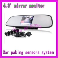 New Arrival car reversing aid system Complete Car Reversing Kit - Rearview Camera + Parking Sensor +4.3' Rearview Mirror