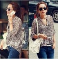 Best Selling!leopard print V Neck turn-up cuff thin long sleeve shirt/blouses+free shipping Retail&Wholesale