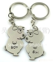 "Hot sale Free shipping Alloy Key chain/King holder/Key ring ""boy girl"" PIG kc165"