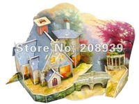 Free shipping Stereo Handmade 3D Puzzle DIY Paper Model 3D Theater Jigsaw Puzzle The Warm Gabin