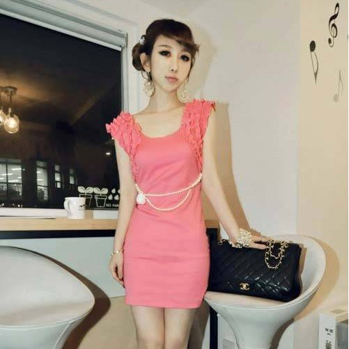 2012 new hot summer Fashion Cozy women clothes elegant chiffon dress Corsage short sleeve lace vest mini sexy dress skirt