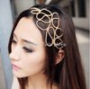 Gossip Girl Metallic Gold Braid Braided Hollow Elastic Stretch Hair Band Headband head hoop wrap free shipping FF1204-09