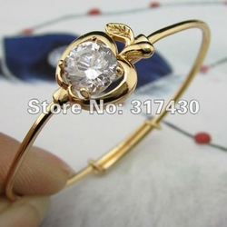 Wholesale Baby Bangle 18K Yellow Gold Filled GF Infant CZ Bracelet Apple-Shaped Children Bangles Fashion Jewelry Free Shipping(China (Mainland))
