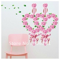 Removable Rose  Living room Decorative Wall Stickers,PVC Background Sticker--Free Shipping