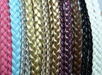 New thin skinny braid double headband faux leather braided  hair band
