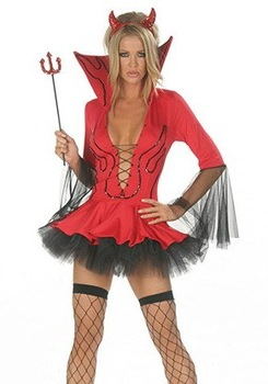 New Lil Devil Costume Sexy Lady Fashion Devil Costume(Head Piece, Pitch Fork & Dress) S8353