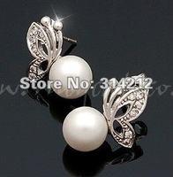 HOT:wholesale fashion pearl bow earring,popular lovely pearl bow earring,hot sell pearl bow earring+free shipping