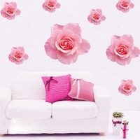 Romantic Pink flower Wall Sticker Mural decor Decal living room bedroom TV GIRL 2 SETS  HL-5916