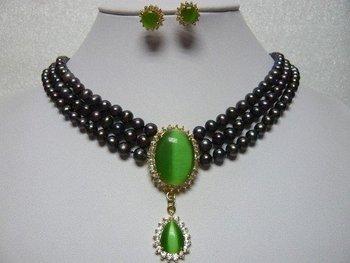 Hot Fashion Jewellery set Beautiful 3Rows 7-8mm black Akoya pearl & green opal Wedding/Bridal Necklace earring Set free shipping