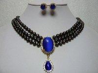Hot Fashion Jewellery set Beautiful 3Rows 7-8mm black Akoya pearl & blue opal Wedding/Bridal Necklace earring Set free shipping