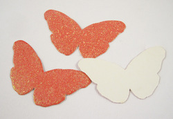 Free shipping wholesale orange color butterfly Paper Craft with glitter for Craft and DIY(100pcs/lot)(China (Mainland))