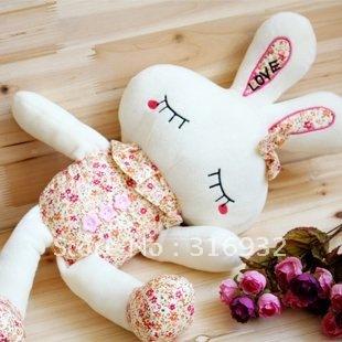 J1 FREE Shipping 25cm plush flower rabbit toy doll, home decoration 10pcs/lot