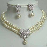 Hot Fashion Jewellery set Beautiful 2Rows white pearl Wedding/Bridal Necklace bracelet Set free shipping