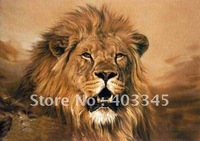 100% hand-painted high-quality realistic animal painting lion painting Free postage 24x36inch