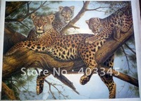 100% hand-painted high-quality realistic animal painting  leopard realist painting  free postage 24x36inch