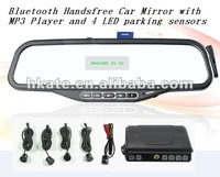 3pcs/lot  driver lover ATM08B--Bluetooth Handsfree Car Mirror with MP3 Player and 4 LED parking sensors