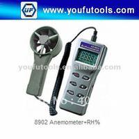 0.6-62m/s Anemometer+RH%/Remote Fan Air Flow Meter w/RH%/Handheld anemometer w/RH% 8902