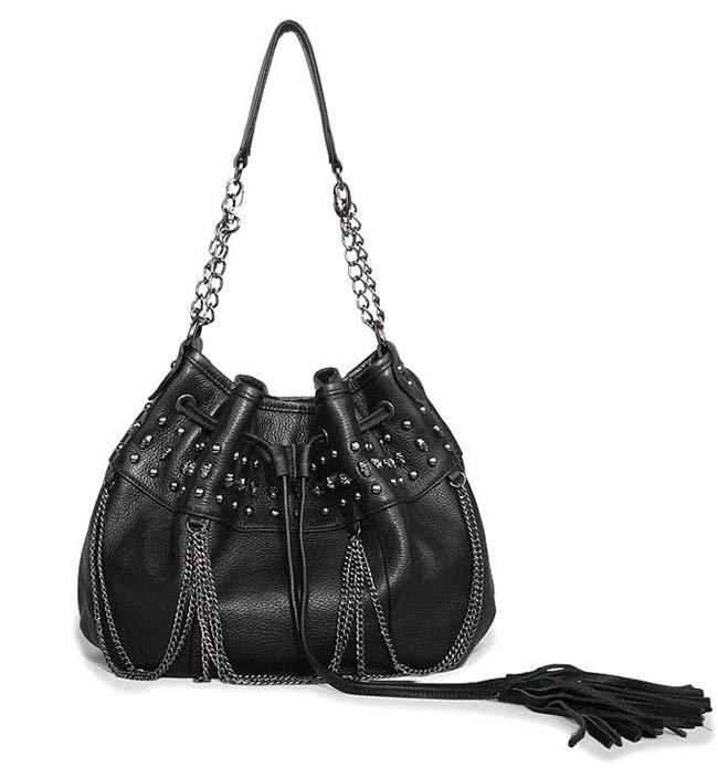Black Studded Over The Shoulder Bag 44