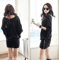 Free shipping Korean version  casual loose  Bat Sleeve package hip mini  Slim women's dress T long sleeve black