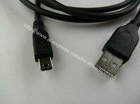 400pcs/lot 1.5M 5ft USB MALE TO MINI B 5 PIN CABLE CORD FOR CAMERA PS3 Black