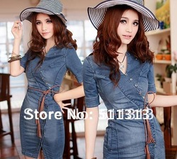 FREE SHIPPING 2012 new arrival lace slim retro S shape big size denim dresses(China (Mainland))