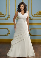 W3114 Hot Sale New Arrival Deep V-Neck Empire Beading A-Line Chiffon Wedding Dresses Wholesale Fast Shipping