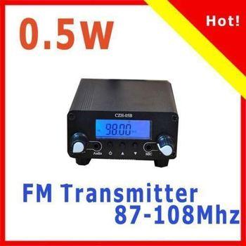 Free shipping Black&Silver 0.5W 500mW CZH-05B FM Transmitter Mini Radio Stereo Station PLL LCD+Antenna