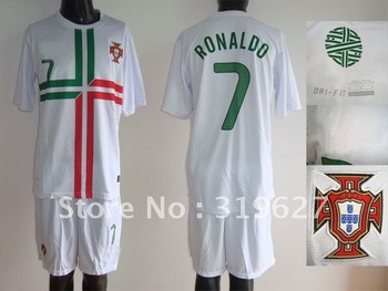 Free-shoping! 12-13 European Cup Portugal away white #7 ronaldo soccer uniform jersey and shorts ( embroidery logo) Mix order