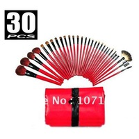 HOT Sale 30PCS Makeup Brushes Cosmetic Brush Sets 30PCS Pro Red&Black Deluxe Mineral Make Up Brush&Bag Set High-quality