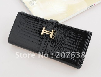 best selling!!100% Crocodile Pattern Genuine Leather Women's Long Wallet /Party Bag+free shipping Retail&Wholesale