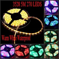 FREE shipping,DC 12V 5M Waterproof IP65 Epoxy 270LEDS SMD 3528 RGB LED Strip Light with Remote Control