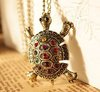 24pcs/lot Free Shipping Wholesale Fashion Turtle Necklace Crystal Turtle Pendant Long Necklace Animal Jewelry