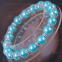 Wholesale 8mm Fashion Light Blue Simulated-Pearl Round Loose Beads Bracelets 18mm Free Shipping!