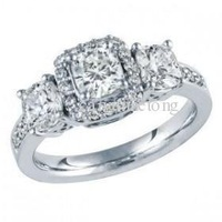 WOMENS WHITE GOLD DIAMOND PRINCESS CUT ENGAGEMENT WEDDING RING BAND BRIDAL SET