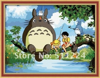 Hayao Miyazaki anime film - Totoro,children room decorative, DIY digital oil painting by numbers kits, 30x40cm,Free Shipping!