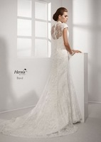 New style!High  Button short sleeves lace royal train sheath custom-made 2013 wedding Dress