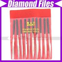 10 x 3mm x 144mm Stainless Steel Diamond Files Set #640
