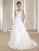 New style!shoulder straps scoop appliques court train 2013 wedding dress
