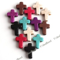 50pcs Mixed Howlite Gem Turquoise Cross Loose Bead Colorful Charms BEADS 16*12 mm 110009