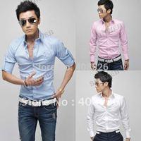 Mens Casual Slim fit Stylish Long Sleeve Dress Shirts Luxury Three Colors free shipping 3612