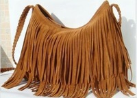 Shipping Free Factory direct 2013 Fringe Tassel Shoulder Messenger handbag Suede handbag-Brown Color ,Message bag