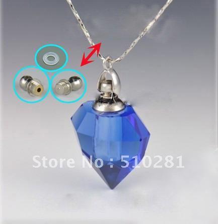 # para venda # magia gary azul cristal essencial óleo garrafa frasco pingente aromaterapia SDF02 garrafas de colar arte 2012(China (Mainland))