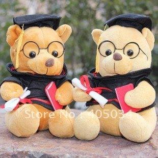 Plush graduate bear wearing spectacles plush doctor dog graduation gift 30cm 20pcs/lot