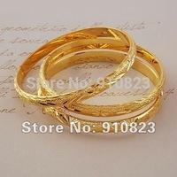 3PCS Carved Bangle 18K Yellow Gold Filled Lady's Bracelet Bangle 60mm*6mm GF Jewelry