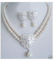 Hot Fashion Jewellery set Beautiful white pearl wedding Necklace earring Set free shipping